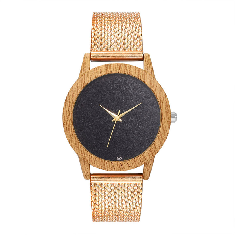 Watches Women Wooden-Light Bamboo-Case Plastic-Band Dial Black Creative Modern Analog-Clock