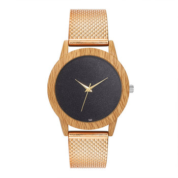 Creative Watches Women Plastic Band Bamboo Case Lady Wrist Watch Wooden Light Black Dial Modern New Style Analog Clock