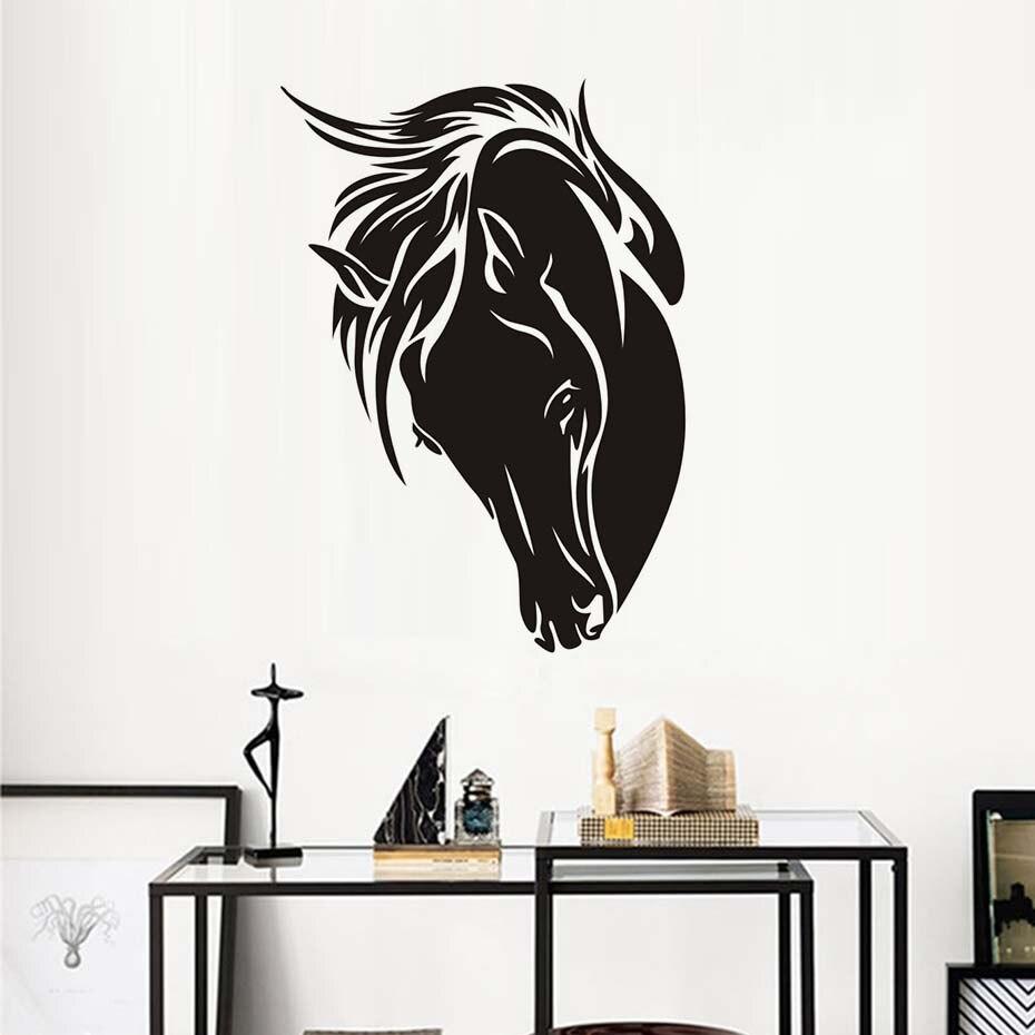 Творческий Силуэт Черная Голова Лошади Стикер Стены Самоклеящиеся Арт Винилы Наклейки Гостиная