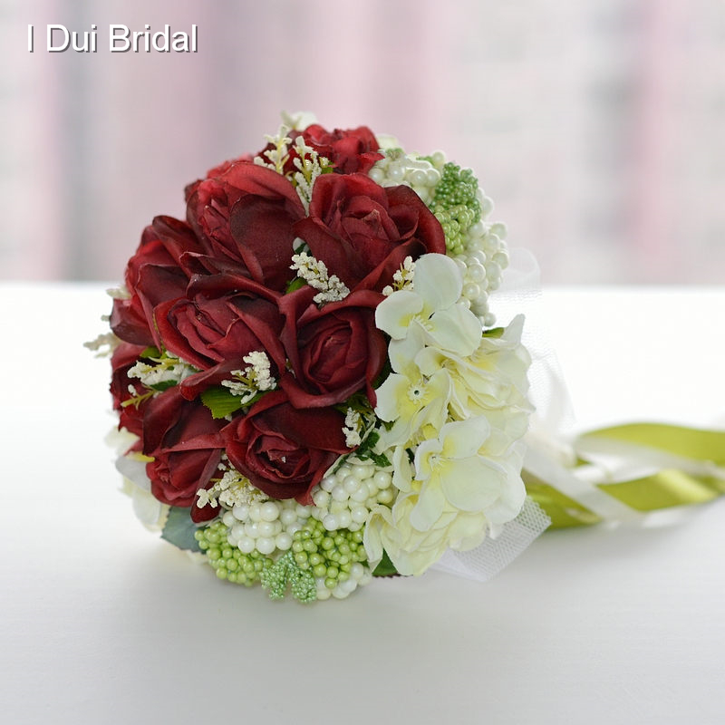 Photo Wedding Flowers: Burgundy Red Rose Ivory Flower Bridal Bouquet With Ribbon