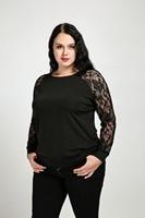 Women S Sexy Long Sleeve Plus Size Sweatshirts Solid O Neck Basic Black Lace Sweatshirts Spring