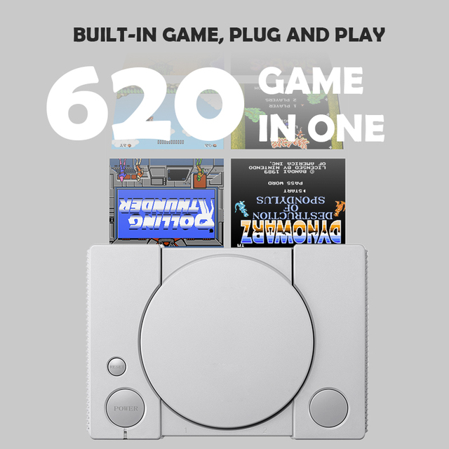 Data Frog Video Game Console Build in 620 Games Support AV Out  8 Bit Retro Video Console Dual Gamepad Support 2 Gaming Player 1