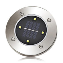 4led LED Solar Power Panel Inserted Ground Lawn Lamp Motion Sensor Outdoor Garden Light Stainless Steel Square Street Garland(China)