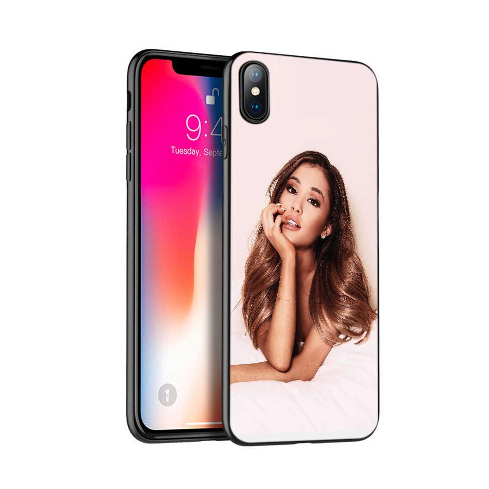 Hitam TPU Case untuk iPhone 5 5S SE 6 6S 7 8 Plus X 10 Case Silicon Cover UNTUK iPhone XR X 11 Pro Max kasus Yang Indah Ariana Grande