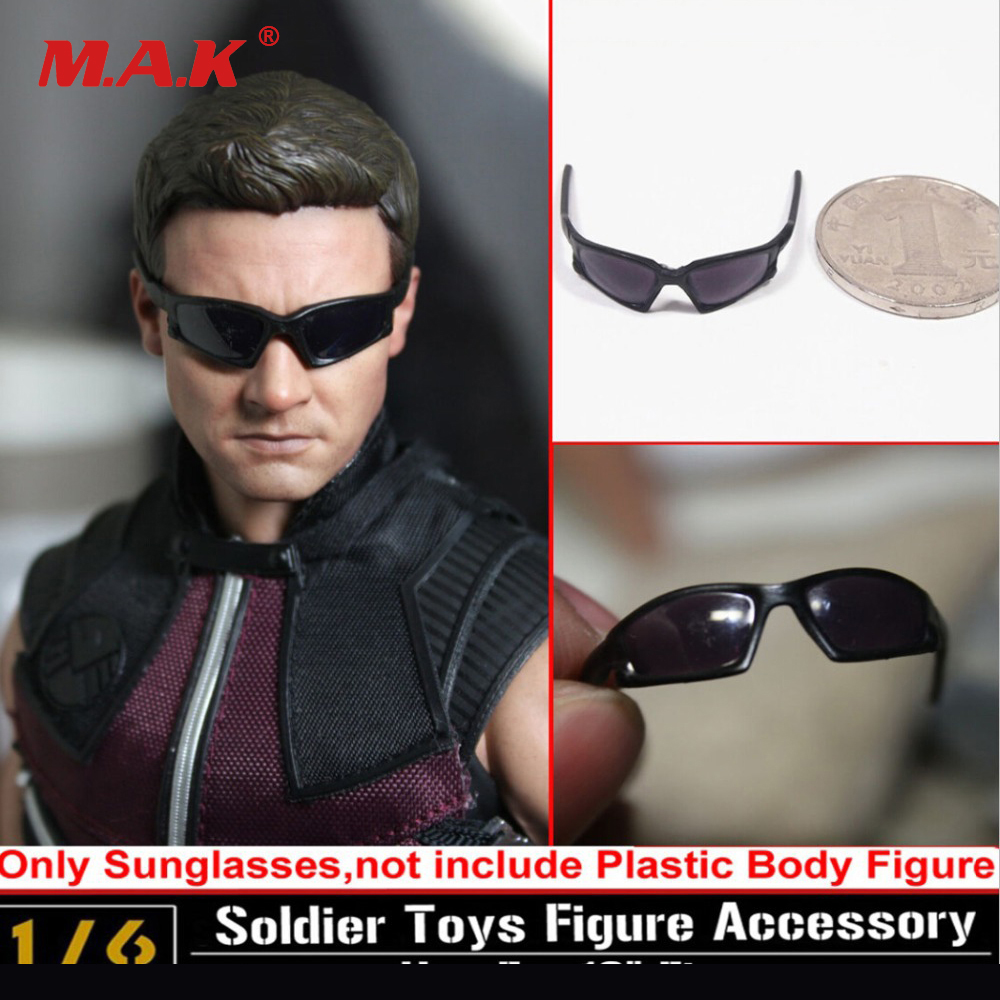 1/6 Hot Toys Sunglasses The Avengers Hawkeye Black Glasses Fit 12