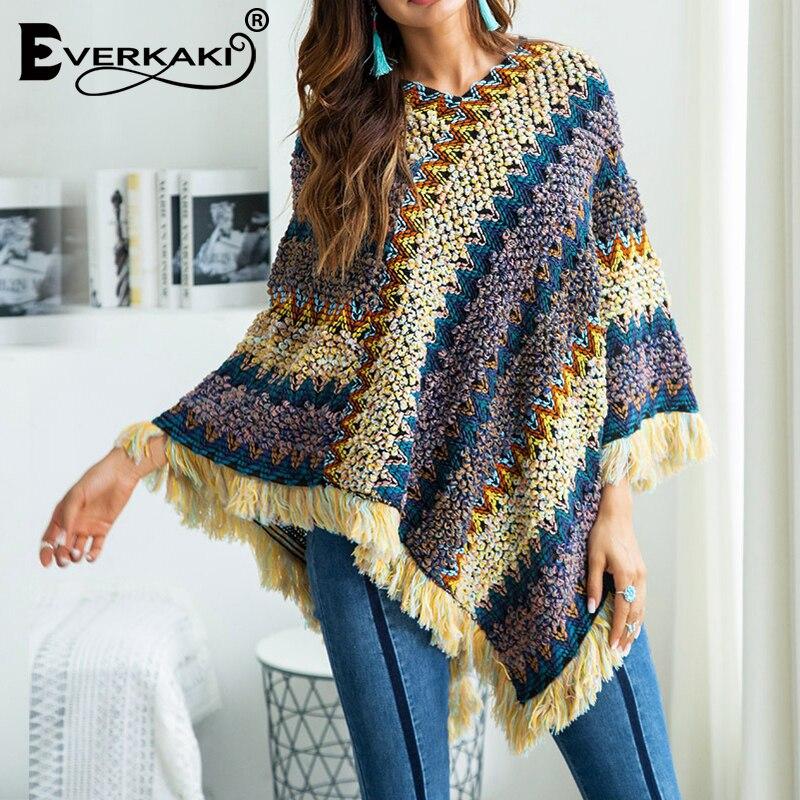 Everkaki Boho Tassels Knitted Sweater Shawl Women Wraps Ethnic Thick Warm Bohemian Sweater Shawl Wraps Female 2019 Winter New