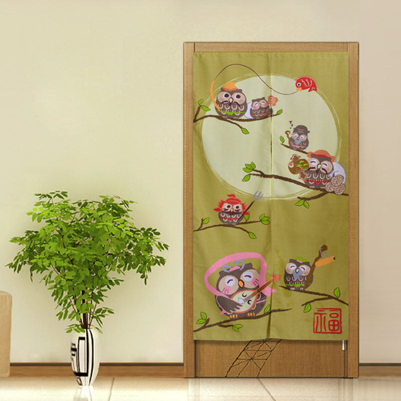 ZHH ZHH High Quality Japanese Style Owl Door Curtain Air Curtain Kitchen Curtain For Door 85cm*170cm Finished Cartoon Curtains