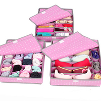 Foldable Non Woven pink heart Storage Boxes for Bra Socks Briefs Scarf 3pcs/set Free shipping