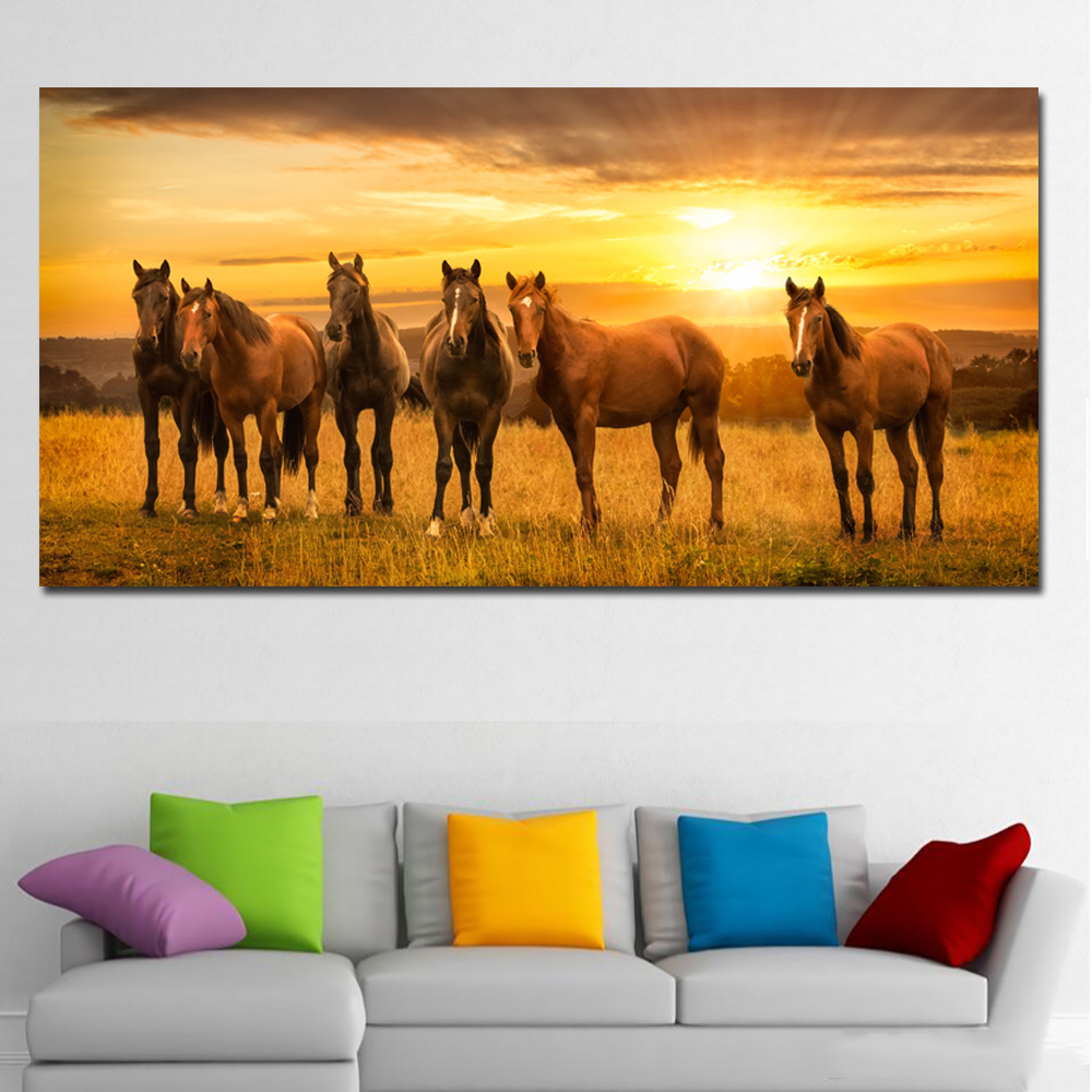 SELFLESSLY Animal Wall Art Pictures For Living Room Home Decor Canvas Painting Horses Sunrises and sunsets Art No Frame