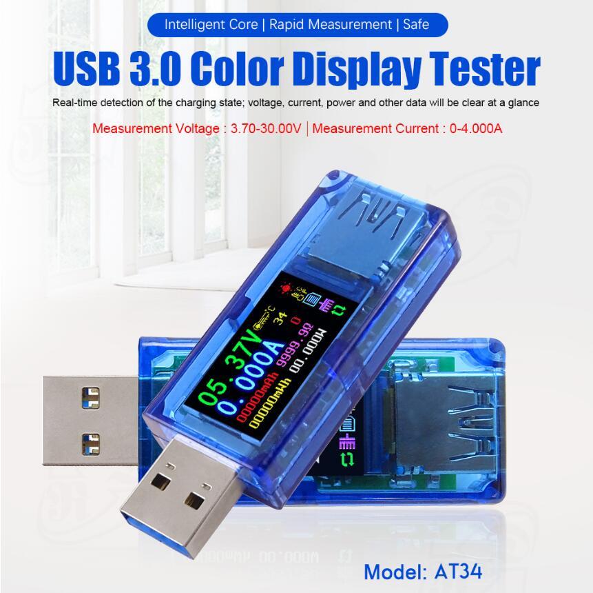 At34 Usb 3.0 Farbe Lcd Batterie Ladung Power Bank Usb Tester Voltmeter Amperemeter Spannung Strom Meter Multimeter Festsetzung Der Preise Nach ProduktqualitäT
