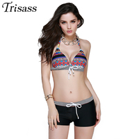 2016 Women Retro Bandage Halter Top Bikinis Set Boxer Swimming Trunks Floral Printed Swimsuit Two Pieces