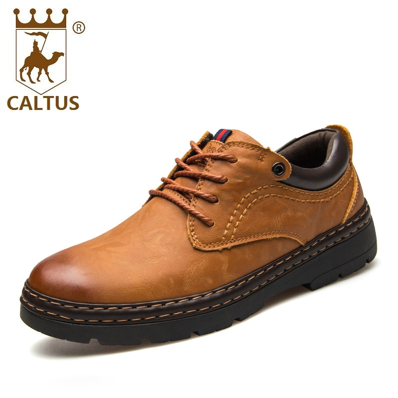 CALTUS 100% Genuine Leather Mens Shoes Casual 2017 New Design Oxfords Men Flats Good Quality Working Shoes Size 38-44 AA20532 male casual shoes soft footwear classic flats men genuine leather shoes good quality working shoes size 38 44 aa30059