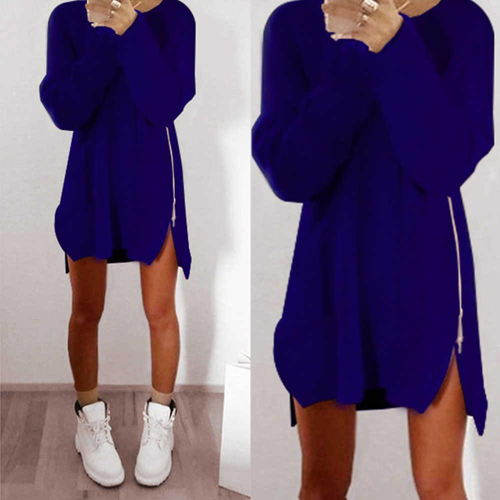 6e16a20fb410 Зимние Свитер с длинными рукавами платье Для женщин с круглым вырезом ...