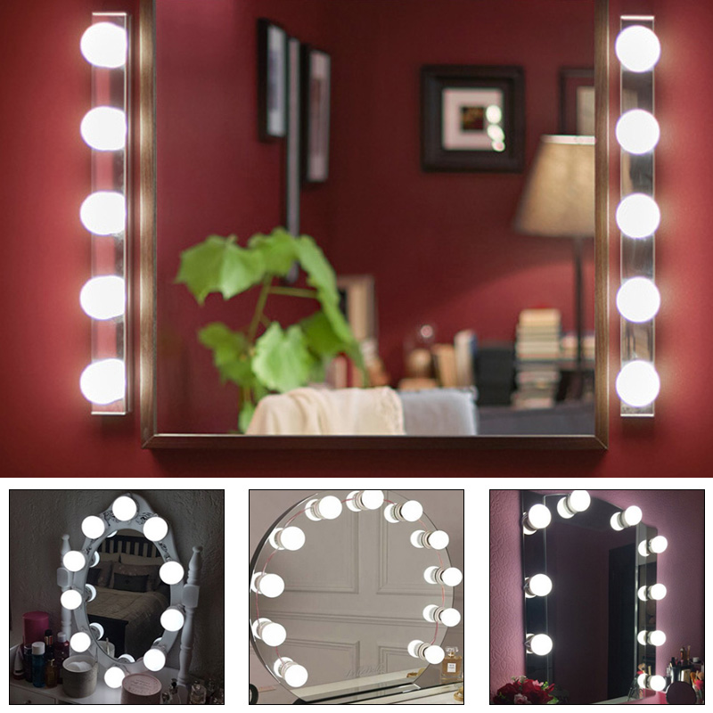 2A Mirror Lights Kit 10Bulb Makeup Light Dimmable USB Glamour Dressing Room Table Set Hollywood Style
