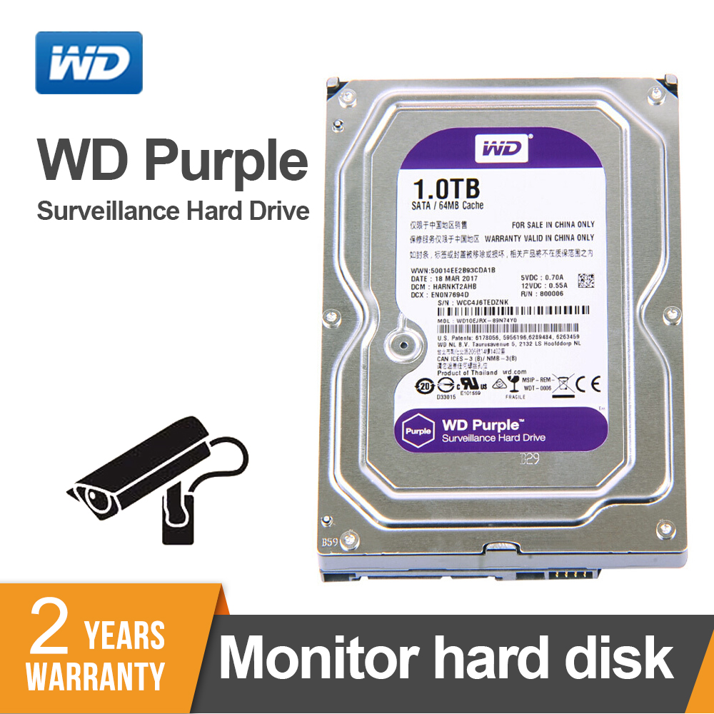 WD Purple 1TB Hard Drive Disk For Security System WD10EJRX <font><b>HDD</b></font> <font><b>3.5</b></font>