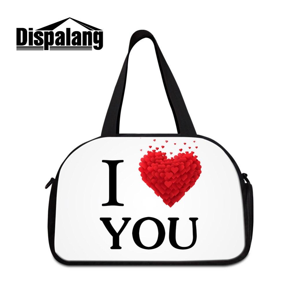 Dispalang Для женщин Путешествия многофункциональный Сумки на плечо с Обувь хранения I Love You Для мужчин дорожная Duffle сумка дорожная сумка Мужска...