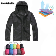Men Women Quick Dry Hiking Jackets 2020 New Waterproof Sun-Protective Outdoor Sports Coats Skin Male Female Windbreaker RW188 cheap Mountainskin Water Repellent NONE Please noted this have no logo on it Compressed Polyester 150-250G Men Women Jackets