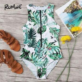 Romwe спортивный зеленый Цельный купальник открытая молния спереди купальники в тропическом стиле сексуальное глубокое круглое декольте куп...