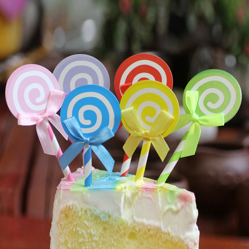 6pcs Cupcake Cake Topper Lovely Lollipop With Straw Inserted Card Flag Decoration For Wedding Birthday Party Mix Color Available