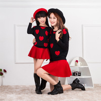 Mother Daughter Dresses Red T shirt Family Look Matching Outfits Kid Clothes Mom And Daughter Baby Girls Dress Korea Style GH273