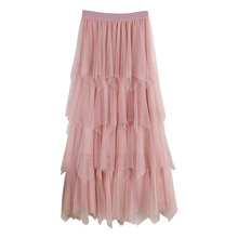 2019 New Spring High Waisted Pleated Tulle Skirts 5 Layers Womens Fairy Ruffles Mesh Party Skirt Cake for Women