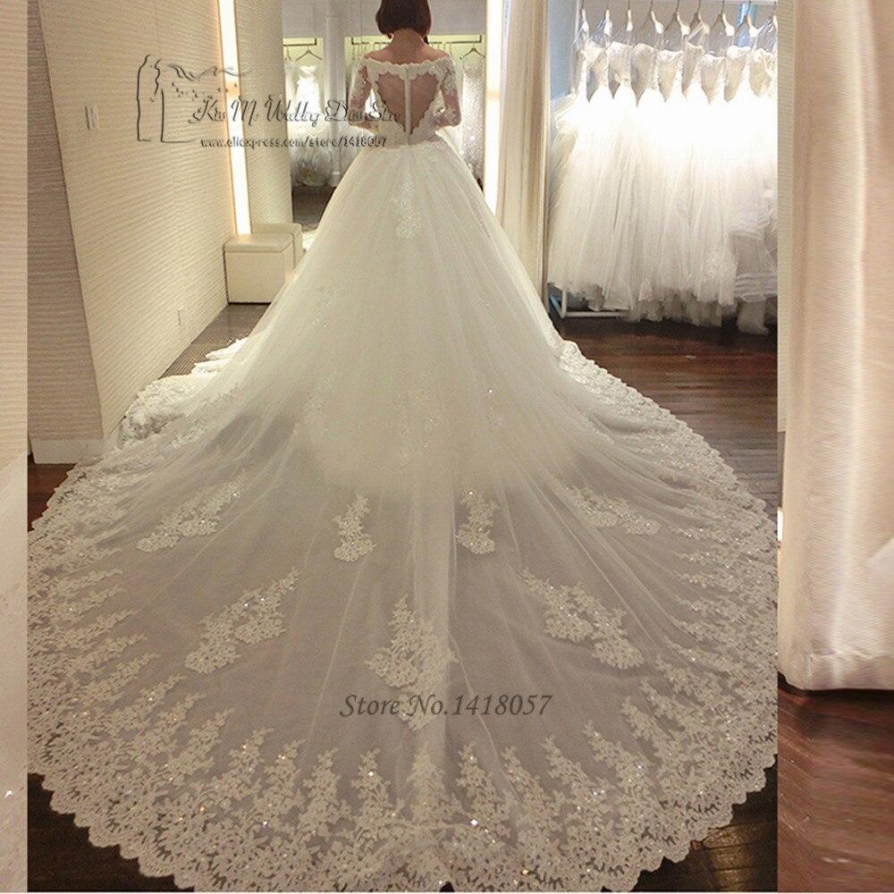Luxury Long Train Wedding Dress Vestido de Renda Casamento Princess Wedding Gowns Sequin Long Sleeve Lace