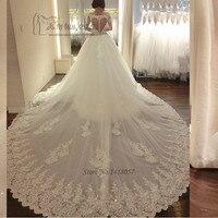 Роскошные длинным шлейфом свадебное платье Vestido De Renda Casamento принцессы Свадебные платья блесток с длинным рукавом Кружево невесты Платья для