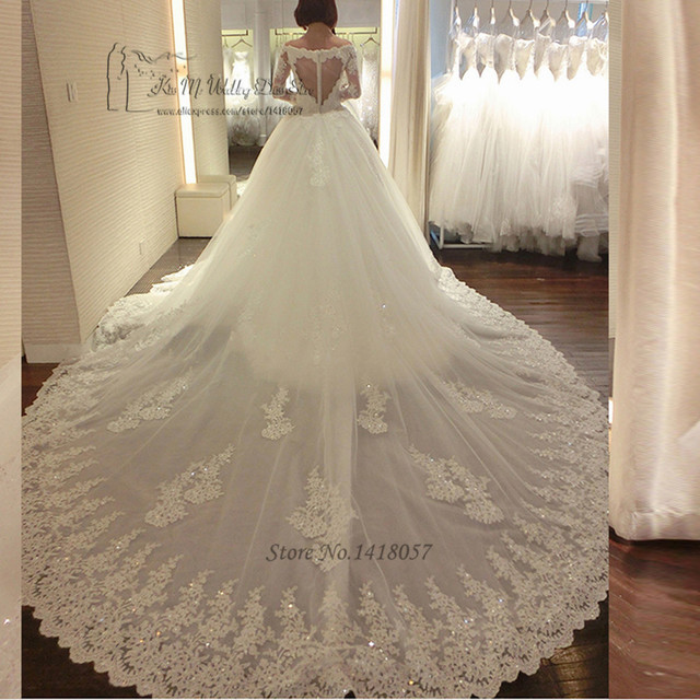 Luxury Long Train Wedding Dress Vestido de Renda Casamento Princess ...