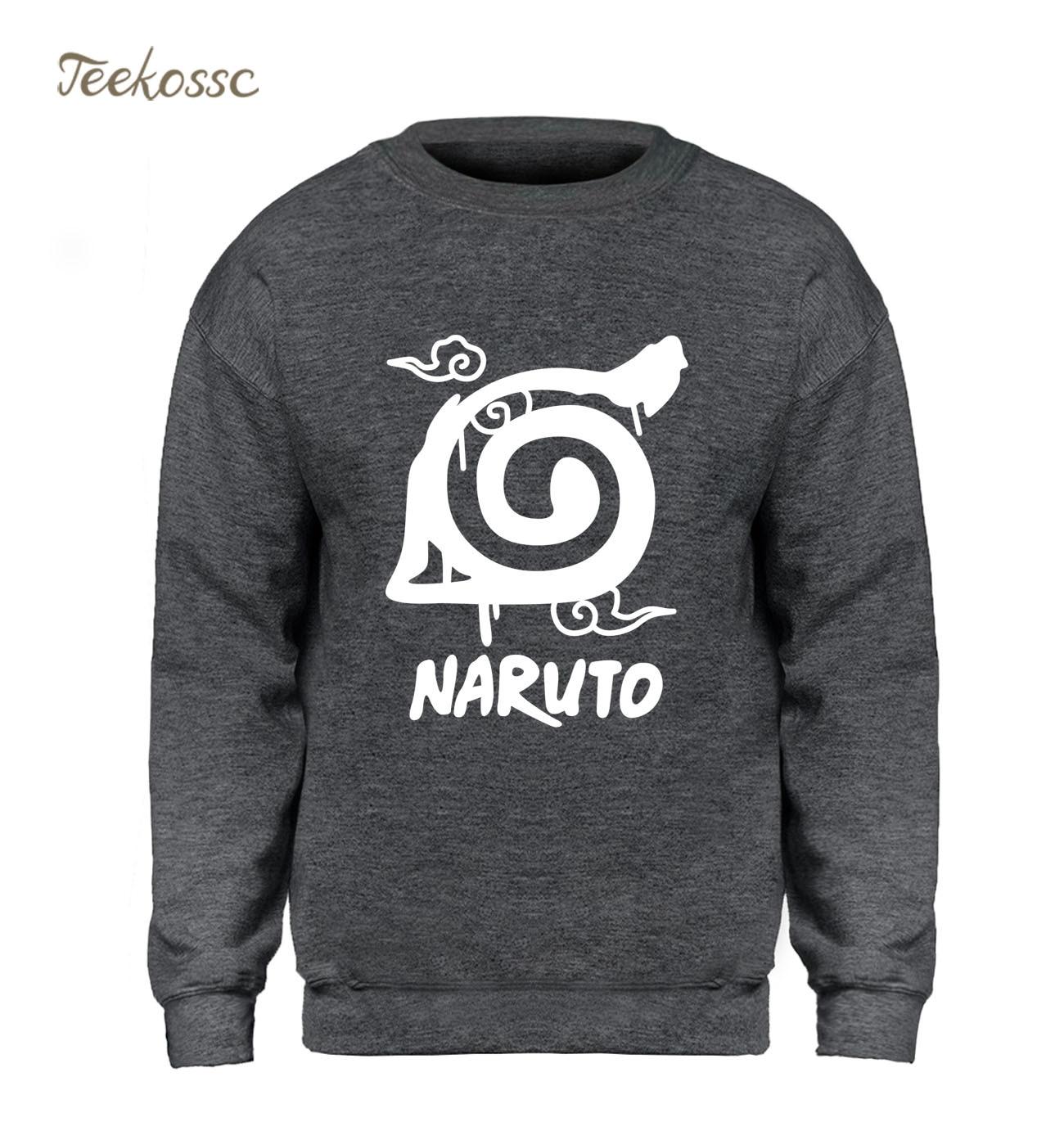 Japan Anime Sweatshirt Men Naruto Uzumaki Hoodie Harajuku Sweatshirts 2018 Winter Autumn Fleece Warm Gray Slim Fit Hoodies Mens