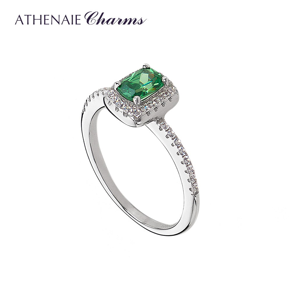 Athenaie 100 925 Sterling Silver Timeless Elegance Ring With Green Cz Rings For Women Wedding Gift Rings Aliexpress