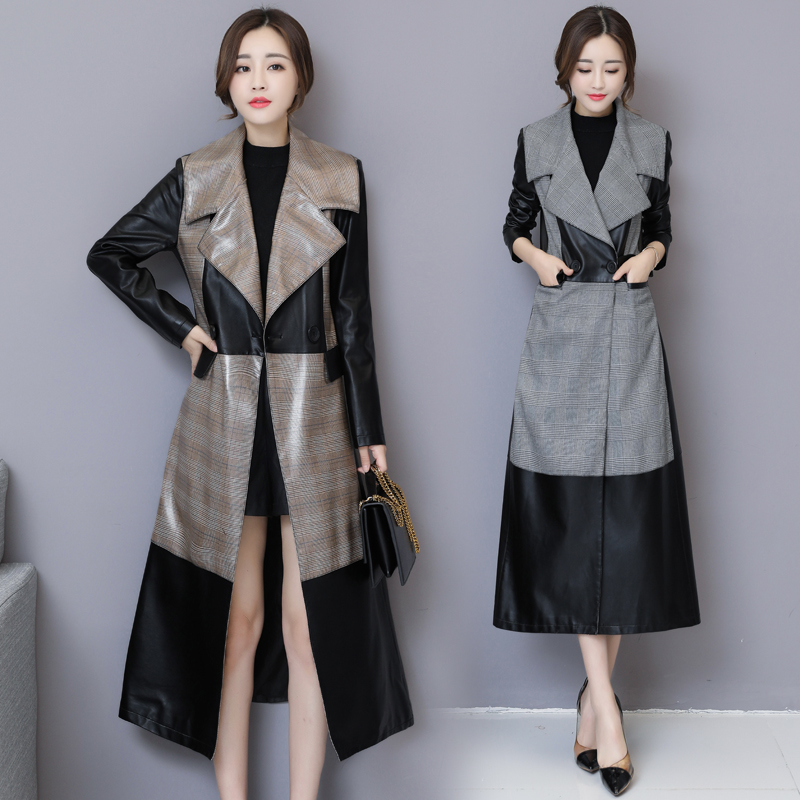 Women autumn high quality   leather   jacket long section button slim female   leather   coat fashion stitching   leather   windbreaker