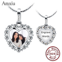 Amxiu Custom Photo Engrave Name Pendant 925 Sterling Silver Charms For Wedding Women Girls Personalized Gifts For Friends Mother