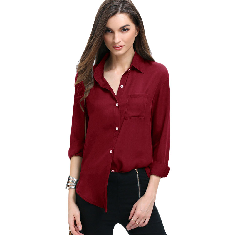Sensible Women Blouse 2019 New Fashion Aliexpress Lapel Collar Pocket Buttons Loose Chiffon Shirt Blusa Feminina Vestidos Eff6175 Women's Clothing