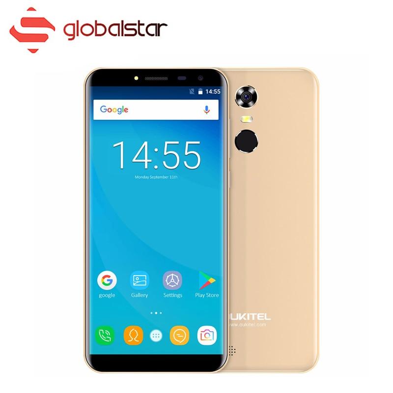 Oukitel C8 5.5 18:9 Écran Mobile Téléphone MTK6580A Quad Core Smartphone 2 gb RAM 16 gb ROM 3000 mah android 7.0 3g D'empreintes Digitales Téléphone