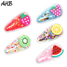 AHB Fruit PVC Hair Clips for Baby Girls Cute Jelly Bows Hairpin Summer BB Hairgrips Waterproof Pool Bow Kids Accessories