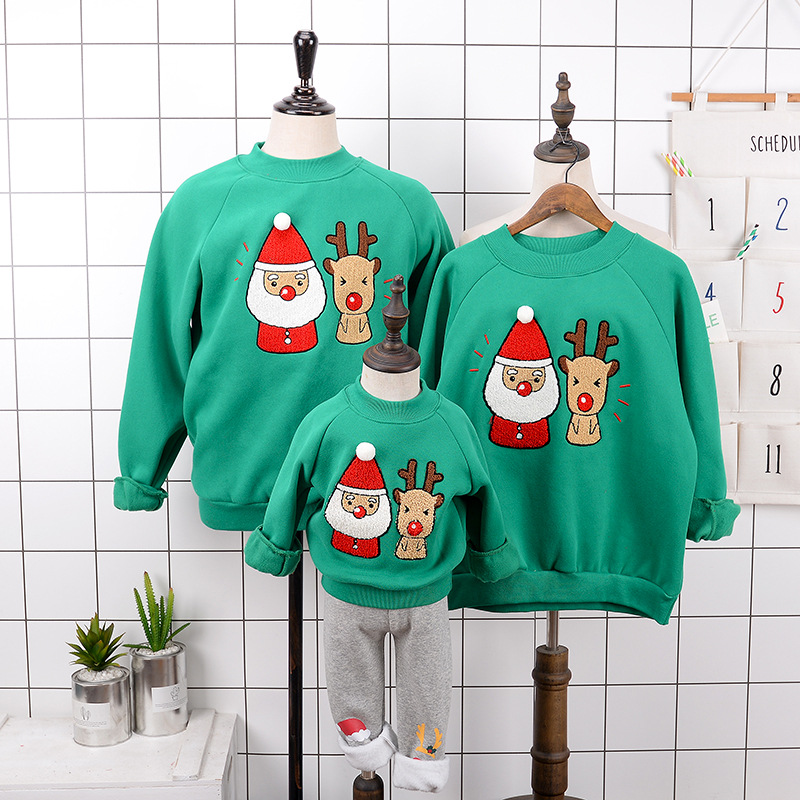 Cosplay winter christmas plus velvet sweater  Santa Claus elk Sweatshirt family clothing  Hoodies Christmas costumes kids adult