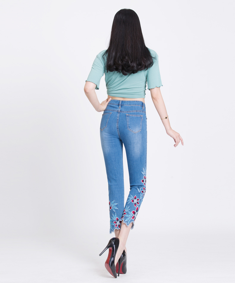 KSTUN FERZIGE Summer Jeans Women Embroidery High Waist Stretch Floral Push Up Skinny Slim Fit Pencils Calf-Length Pants Light Blue 36 17