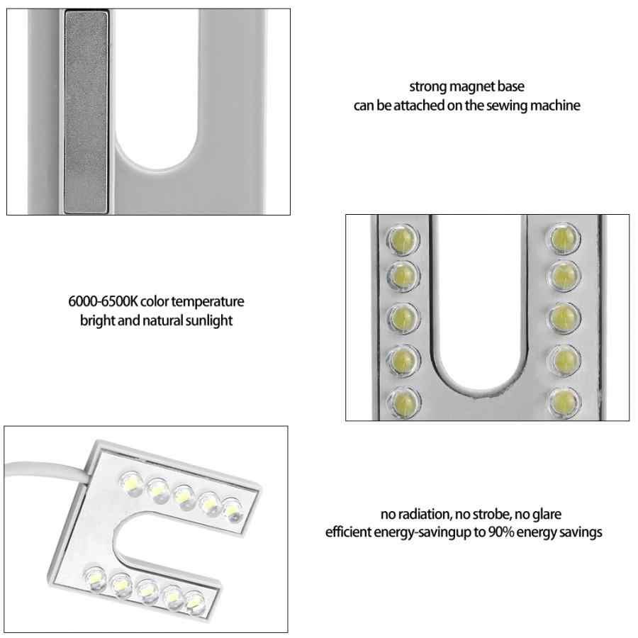 Рабочая гусиная шея светодиодный светильник Гибкая гусиная шея с магнитным основанием для швейной машины 110-265 в штепсельная вилка европейского стандарта