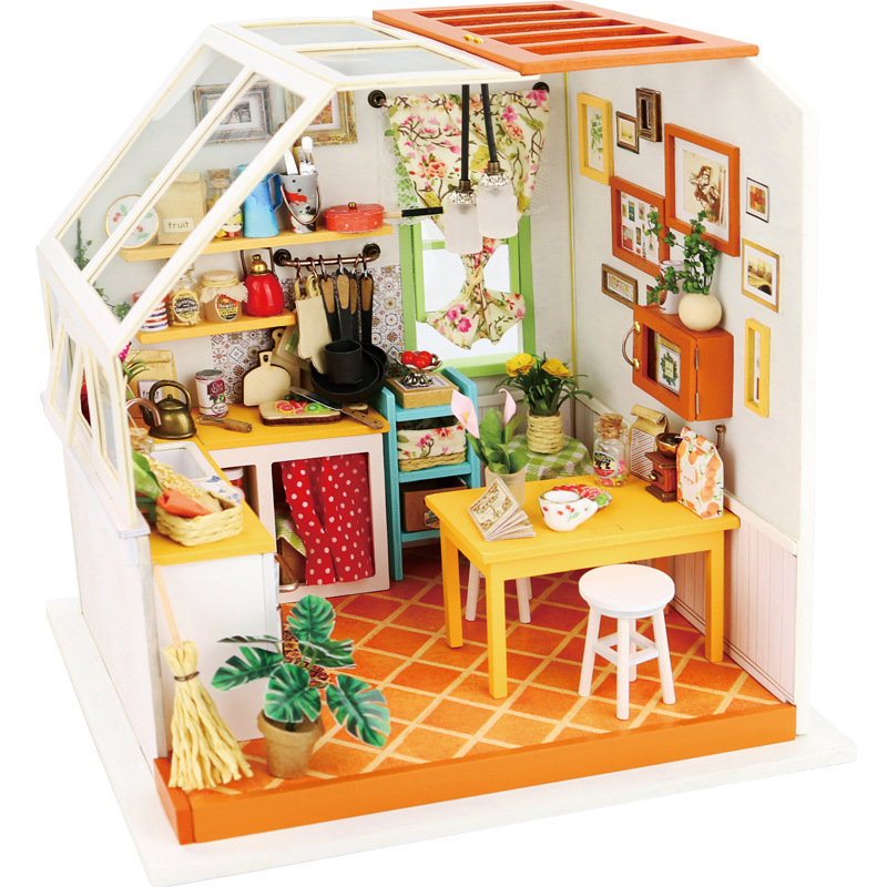 DIY Doll House Miniature With Furnitures Wooden House Puzzle Toys Manual Assembly Model For Children Jasons Kitchen DG105 #EDIY Doll House Miniature With Furnitures Wooden House Puzzle Toys Manual Assembly Model For Children Jasons Kitchen DG105 #E