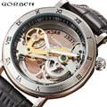Автоматические механические часы с скелетом  мужские роскошные механические наручные часы с золотым мостиком  с прозрачным циферблатом ...
