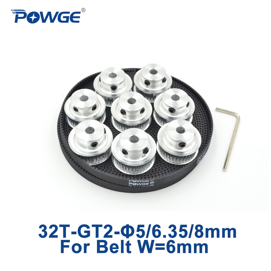 POWGE 8pcs 32 teeth GT2 Timing Pulley Bore 5mm 6.35mm 8mm + 5Meters width 6mm GT2 Belt Small backlash 2GT pulley 32Teeth 32T powge 24 teeth 2gt timing pulley bore 5mm 6 35mm 8mm for width 15mm gt2 synchronous belt small backlash 2gt pulley 24teeth 24t