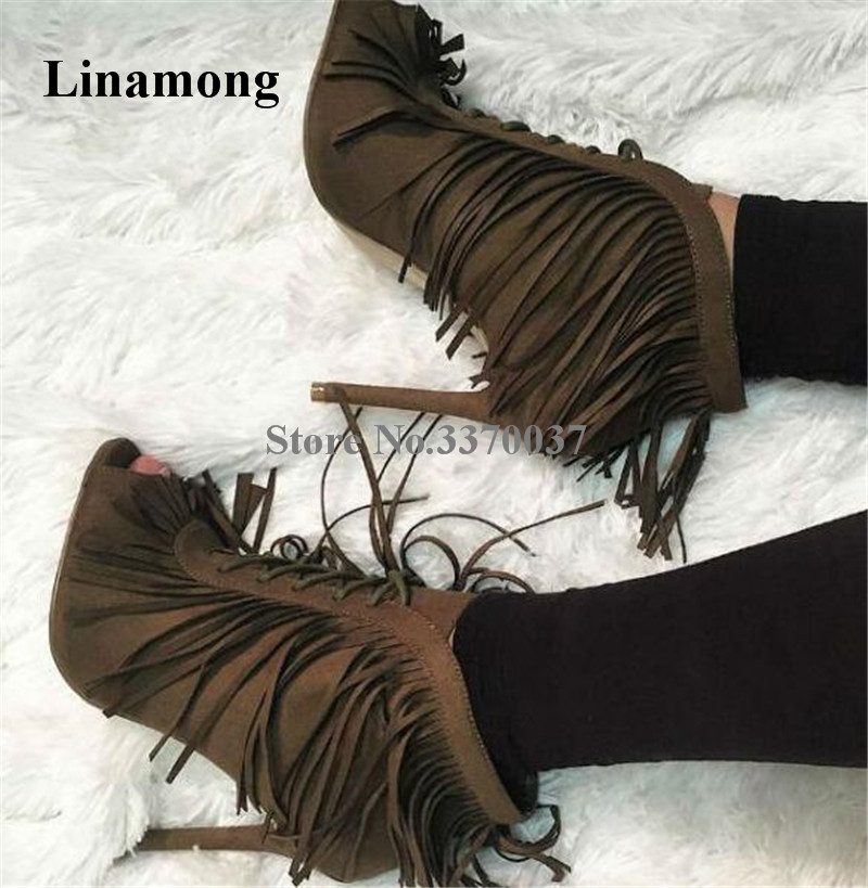 Women Charming Fashion Peep Toe Suede Leather Stiletto Heel Tassels Short Gladiator Boots Fringes Lace-up High Heel Ankle Boots