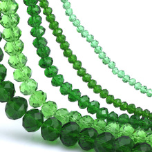 OlingArt 3/4/6/8/10mm Round Glass Beads Rondelle Austria faceted crystal Green color beads Loose bead DIY Jewelry Making