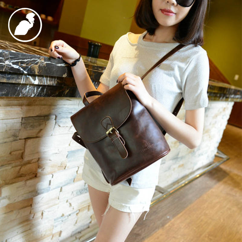 ETONWEAG Brands Cow Leather Backpack Women Brown Vintage School Bags For Girls Preppy Style Small Travel