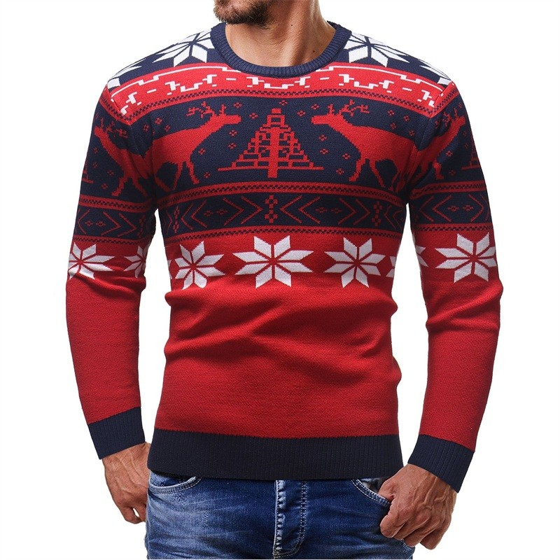 2019 Brand Christmas Style Winter Pullover Sweater Mens Deer Printed Long Sleeve Sweaters Casual Slim Fit Thick Sweaters