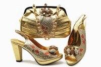Beautiful gold shoes matching bag set newest fashion shoes bag nice shoe and bag set italian gold shoes and bag set SB8300 4
