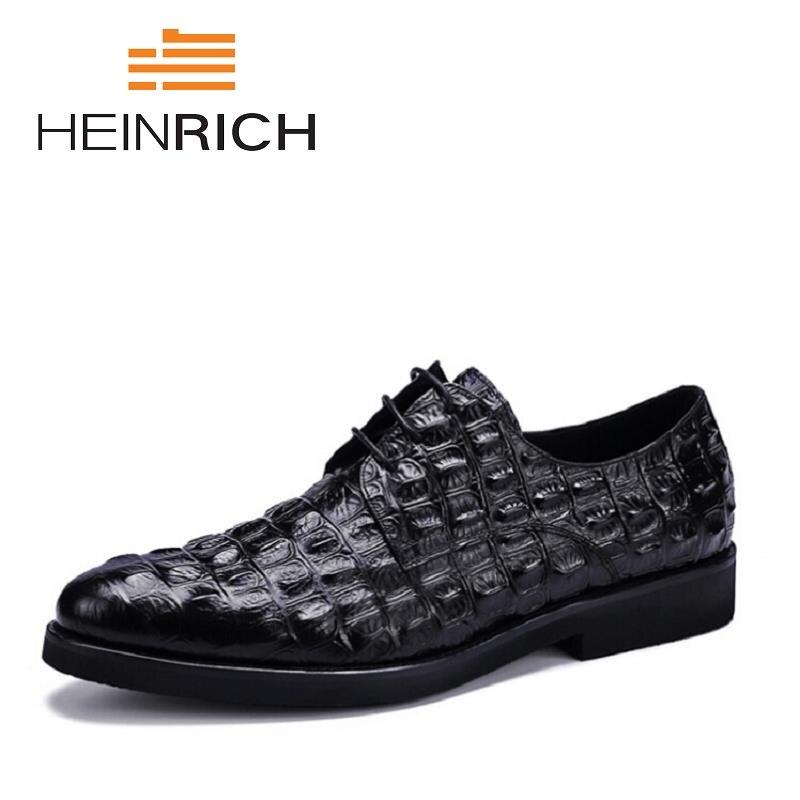 HEINRICH New Arrived Brand Men Shoes Black Derby Shoes Crocodile Men Flat Business Formal Lace Up Shoes Klasik Erkek Ayakkabi