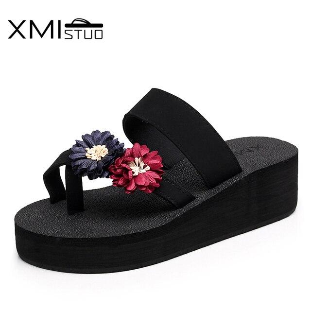 fe0c49182a0 XMISTUO Summer Slippers for Women Fashion Flip Flops with Flower Outside  5.5CM High-Heels Beach Platform Sandals Slides 7231W