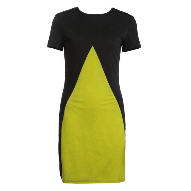 4ed04da163b 2018 Summer New Fashion Women Dress Short Sleeve Round Neck Patchwork Chic  Contrast Color Female Dress Sheath Dress (Yellow)