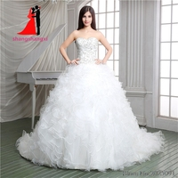 New Stock White Ball Gown Wedding Dresses 2017 Organza With Silver Embroidery Wedding Party Dresses Ruffles